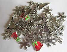 40 x MIXED CHRISTMAS CHARMS Tibetan Silver Pendants Beads