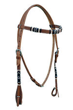 Western Natural Leather Rawhide Braided Headstall with Blk & Nat Rawhide