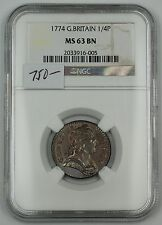 1774 Great Britain 1/4P (Farthing) Copper Coin NGC MS-63 BN Choice AKR