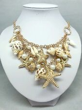 Starfish Sea Shell Necklace Faux Pearl Gold Chunky Statement Bib Seashell Beach