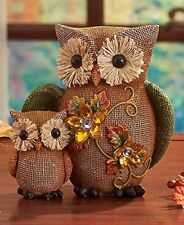 Owl Figurine Statue Owl Mom & Baby Jeweled Table Top Sitter Accent Home Decor