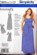 SIMPLICITY SEWING PATTERN 1800 WOMENS 20W-28W CUSTOM FIT DRESS, MAXI, PLUS SIZES