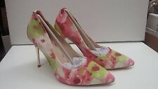 Lunar Shoes Pink Green White Floral Print Stiletto Heel Size 7 Eu 40 BNWT £50