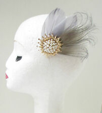 Grey Gold Ivory Pearl Fascinator Headpiece Hair Clip 1920s Vintage Bridal 30s 79