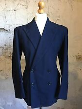 Vintage Demob 1940's Cc41 Double Breasted Navy Blue  Suit Size 40 42