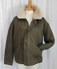 J CREW COLLECTION SHEARLING TRIM BOMBER/AVIATOR JACKET DARK OLIVE SMALL NWT