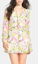 New Women's Lush Periwinkle Print Long Sleeve Dress Size M Medium Pink Green