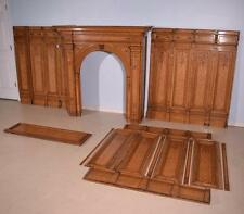 Antique French Marquetry Fireplace Surround + 13' Matching Boiserie/Wainscoting