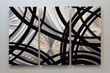 Metal Abstract Modern Painting Wall Art Sculpture Black Silver By Jon Allen