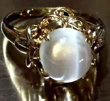Silky natural Cats eye Moonstone Cat's eye cabochon Art Nouveau style 14k ring