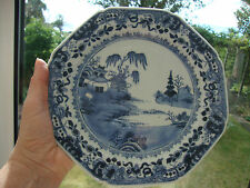 ANTIQUE GOOD HAND PAINTED WILLOW SCENE WITH BORDER CHINESE BLUE & WHITE PLATE