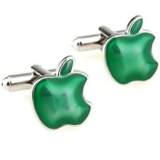 Green Apple Cufflinks Computer Geek Tech Gift + Box & Cleaner