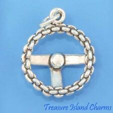 CAR AUTO CHAIN STEERING WHEEL 3D .925 Solid Sterling Silver Charm MADE IN USA