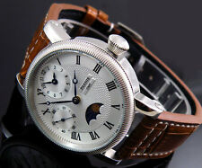 Parnis 43mm Luxury White Dial GMT Hand Winding mens 6497 Watch 54