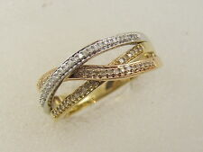 10 KT SOLID TRI COLOR / YELLOW WHITE PINK GOLD 3 TIER DESIGN DIAMOND RING / BAND