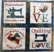 """Sewing Theme Novelty Fabric 5"""" Block Squares Life goes to pieces make Quilt #43"""