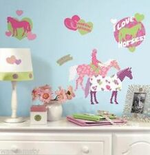 Horse Crazy Western Cowboy Cowgirl Mustang Floral Pink Wall Decals Sticker Decor