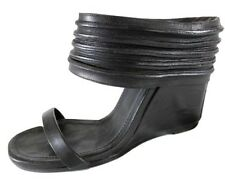 "RICK OWENS BLACK ""ANKLE WRAP"" WEDGE HEEL SANDALS - 38.5"