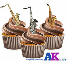 Saxophone Mix 12 Edible Stand Up Cup Cake Toppers Blues Jazz Band Decorations