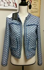 $149 ZARA AW16 WOMAN JACQUARD JACKET COAT BLAZER FRAYED PATCH BLUE L 2773/794