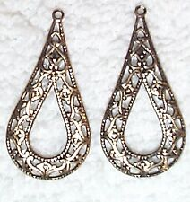 VINTAGE GOLD PLATED ANTIQUE FINISH /BRASS FILIGREE DROPS WITH RING STAMPINGS -8