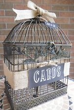 Birdcage Money Box, Wedding Cards, Shower Decor Chalkboard Tag, Burlap Bird Cage