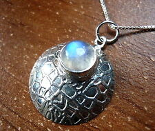 Moonstone Round Convex Pendant 925 Sterling Silver Webbed Design Accents New