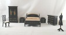 Bed Room Set Japanese Black Lacquer dollhouse furniture 1/12 scale T0121 8pc