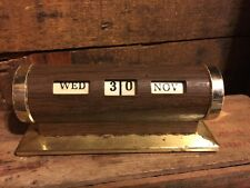 Vintage Manual Perpetual Desk Calendar Revolving Brass Wood Tone