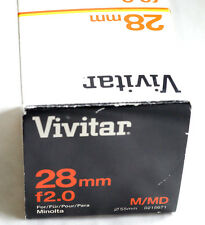 VIVITAR WIDE-ANGLE 28mm f2  f2.0 for Minolta MD WorldShip  JAPAN  BOXED  GREAT
