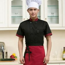Chef Jacket Coat Chef Uniform Kitchen Men Short Sleeve Cooker Work Restaurant