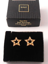 LOVELY AVON SPARKLE STAR EARRINGS CRYSTAL WITH SURGICAL STEEL POSTS NOS