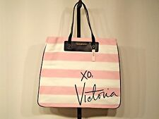 "NWT Victoria's Secret Black/White/Pink Striped ""XO, Victoria"" XL Tote Bag"