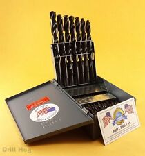 "29 Pc Drill Bit Set Reduced Shank 1/16""-1/2"" Index Lifetime Warranty MADE IN USA"