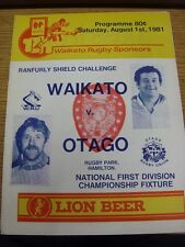 01/08/1981 Rugby Union Programme: Waikato v Otago. Thanks for viewing our item,