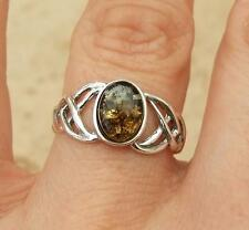 CELTIC DESIGN GREEN BALTIC AMBER & 925 SILVER RING SIZE M-US 6 1/4