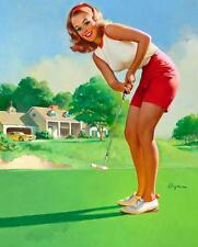 Vintage GIL ELVGREN Pinup Girl QUALITY CANVAS PRINT Poster Sexy Golfer A4