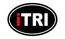 "Itri Triathlon Car Bumper Sticker 5"" X 3"" Oval car window bumper sticker decal 5"