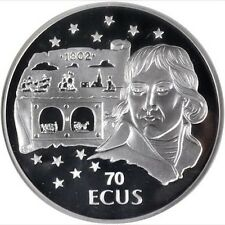 GIBRALTAR  1995  70 ECUS SILVER COIN GEM SUPERB PROOF, CERTIFIED NGC MS67
