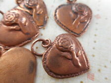 5 Solid Copper Heart with Rose Charms Findings 38170