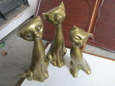 (3) vintage BRASS MOLDED CAT FIGURINES
