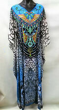 Long Sheer Embellished Kaftan Tunic Georgette Digital Printed Size 16-18-20-22