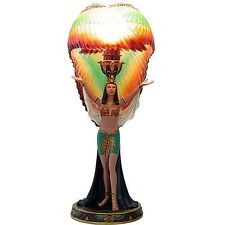Egyptian Decor Goddess Winged Isis Colorful Table Lamp #11687