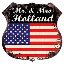 BPLU0276 America Flag MR. & MRS HOLLAND Family Name Sign Decor Wedding Gift
