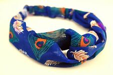 Lady Chiffon Retro Boho Blue Peacock Cross Bandana Hair band Headband Wrap Scarf