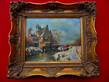 VINTAGE OIL PAINTING OF EUROPEAN COUNTRY HOME SCENE IN BEAUTIFUL FRAME
