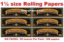 New! THREE CASTLES TOBACCO 1 1/4 Size Cigarette Rolling papers - SIX PACKS
