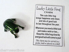 p LUCKY LITTLE FROG CHARM POCKET TOKEN miniature good luck happiness cheer ganz