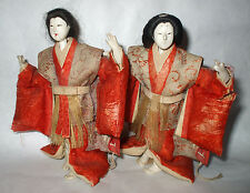 Antique Japanese Dolls Man Geisha Kabuki Hina Meiji 1880 Era Samurai Doll    LOT