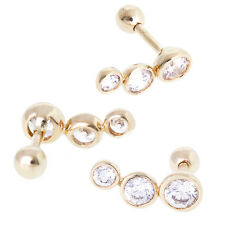 18gauge  Round Shape CZ Tragus Ear Piercing in 14k Yellow Gold